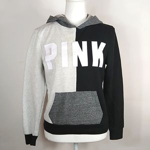 VS PINK Colorblock Pullover Hoodie Gray Black XS